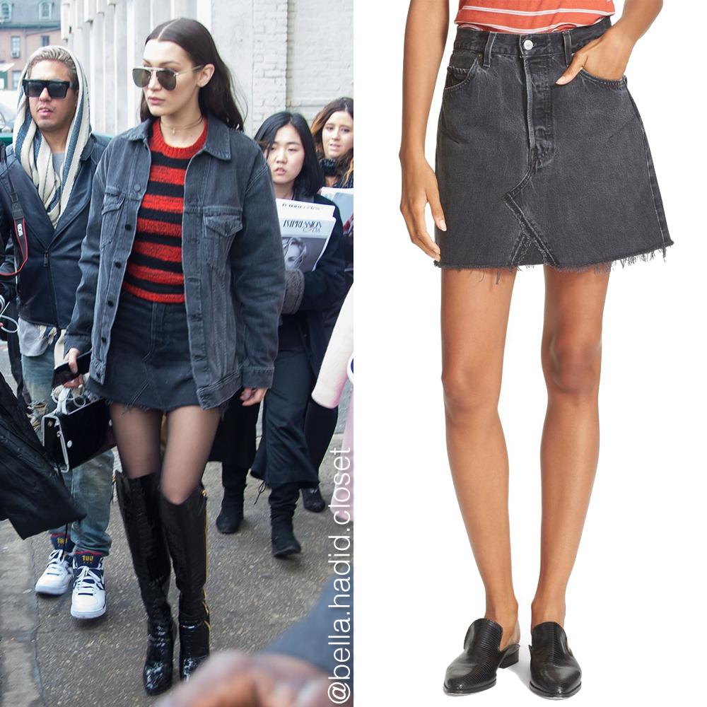 4f1e7b571e1e Bella Hadid s Closet  Bella Hadid s Re Done Denim Mini Skirt