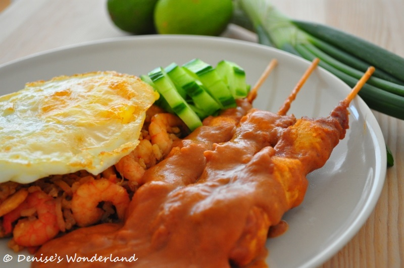 sate with peanut sauce
