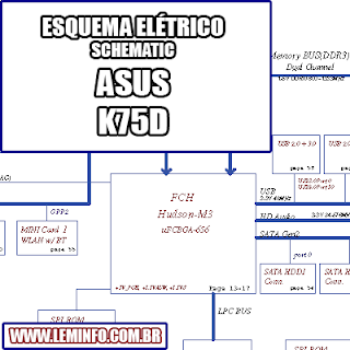 Esquema Elétrico Notebook ASUS K75D Compal LA-8371P Laptop Manual de Serviço - service manual schematic diagram