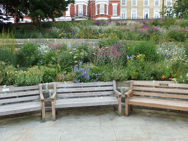 Benches and terrace beds at Richmond's Terrace Gardens