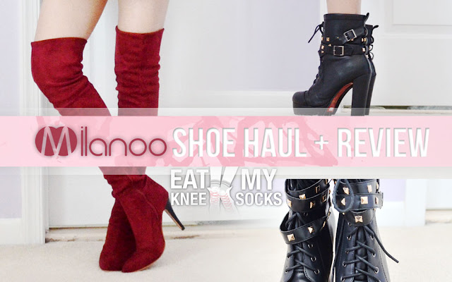 Today's post is a long overdue review of some new shoes from Milanoo! I'll be reviewing two pairs of boots, including a pair of wine red over-the-knee suede stiletto boots and faux leather studded lace-up platform boots. -Eat My Knee Socks/Mimchikimchi