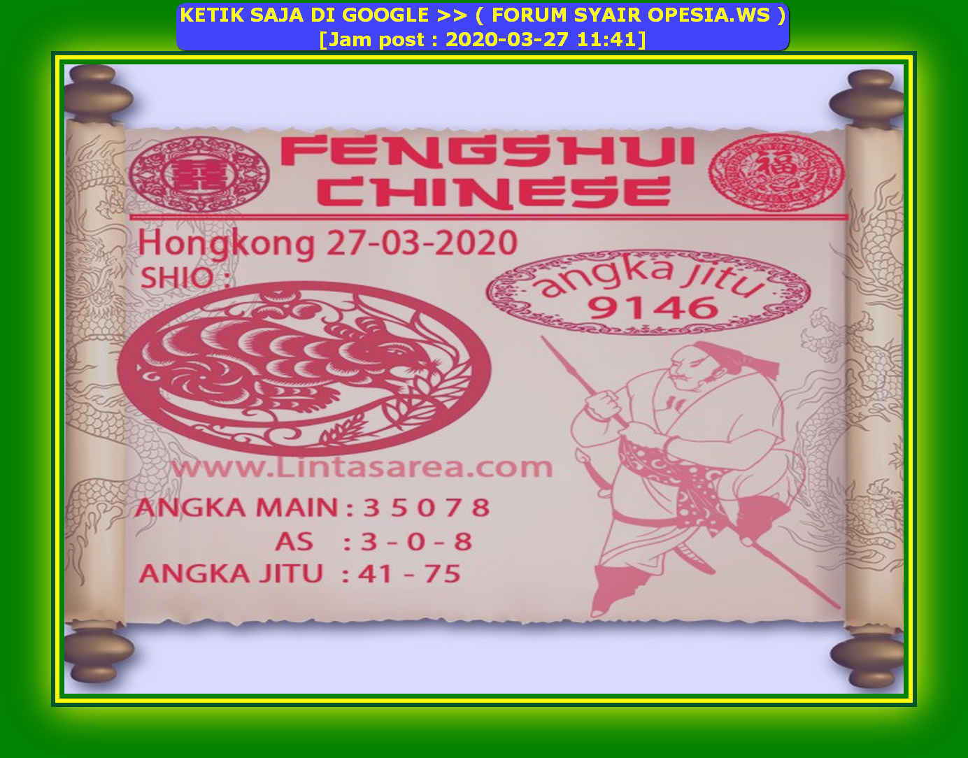 Kode syair Hongkong Jumat 27 Maret 2020 94