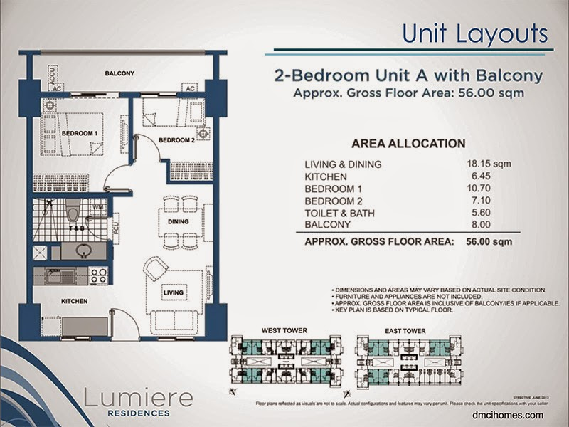 Lumiere Residences 2 Bedroom A 56.00 sqm
