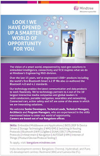 Mindtree Off-Campus for Graduate Engineers: BE/B.Tech/B.Sc/BCA : Fresher 2016 Passout