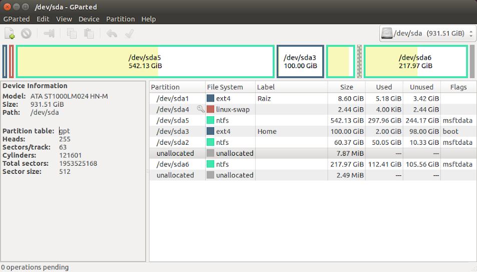 GParted exibe todas as partições existentes depois da conversão de MBR para GPT