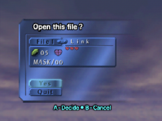 Legend of Zelda Majora's Mask load save screen
