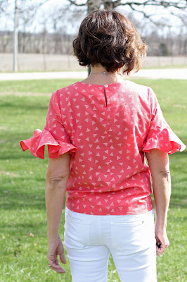 Simplicity 8601 top made from Style Maker Fabrics' shirting - back