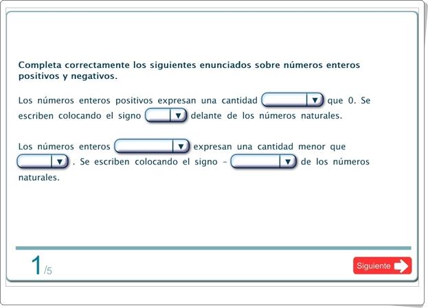 """""""Autoevaluación de números enteros de 6º de Primaria"""""""