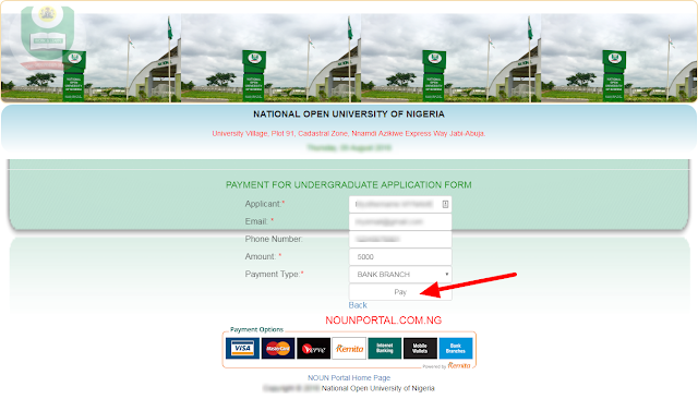 Select Bank Branch and Pay NOUN Admission Form National Open University of Nigeria