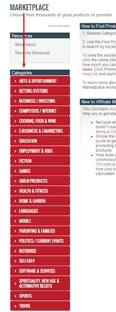 Para encontrar nichos rentables puedes empezar por las categorías generales de la red de afiliación 'clickBank'