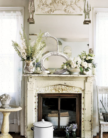 Shabby Chic Kitchen With Fireplace - House Furniture
