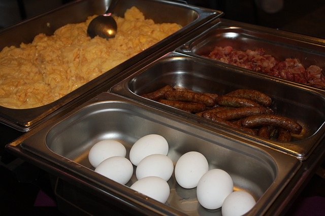 Buffet: Scrambled Eggs, Hard-Boiled Eggs, Breakfast Sausage Links, and Bacon