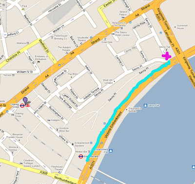 Map showing the gathering point in Savoy Street and the distance we had to traipse through the crowd to get to the front of the march
