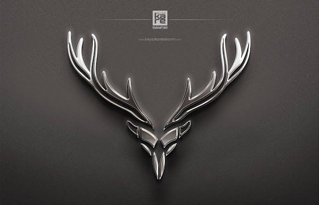 Gümüş Metal Logo Tasarımı geyik boynuzu icon