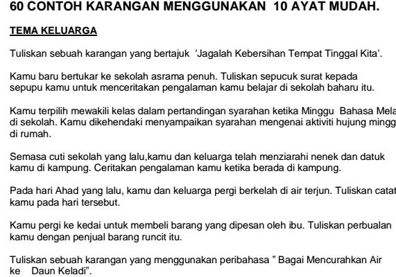 Contoh Karangan Mudah B Melayu Upsr My School