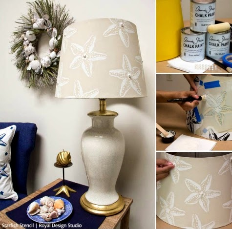 Starfish Stenciled Lampshade