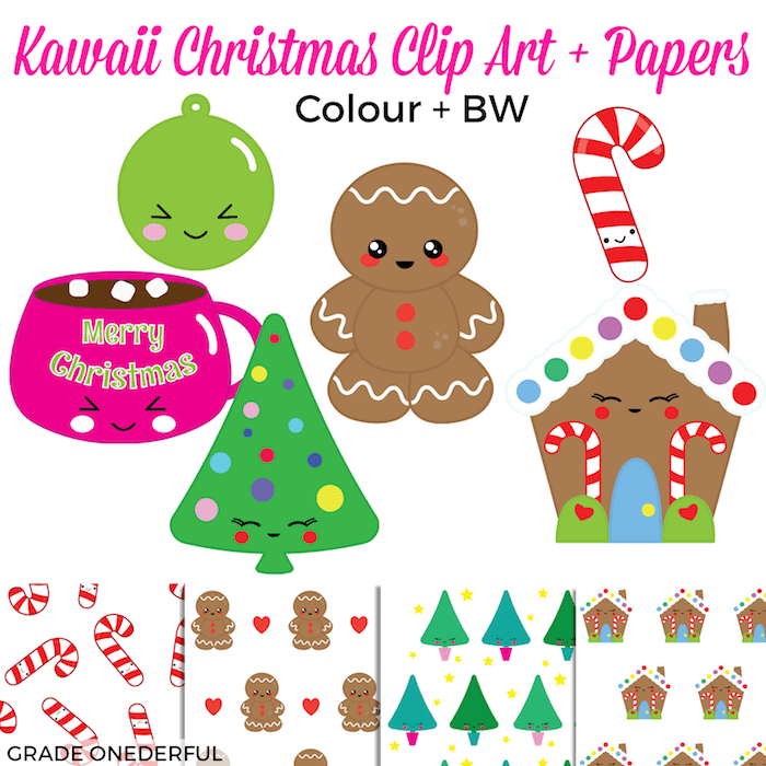 Kawaii Christmas Clip Art. 18 adorable colour and black/white images plus 4 super cute papers. #gradeonederful #kawaiiclipart #kawaiichristmas #christmasclipart