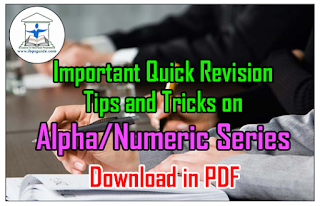 Important Quick Revision Tips and Tricks on Alpha/Numeric Series | Download in PDF