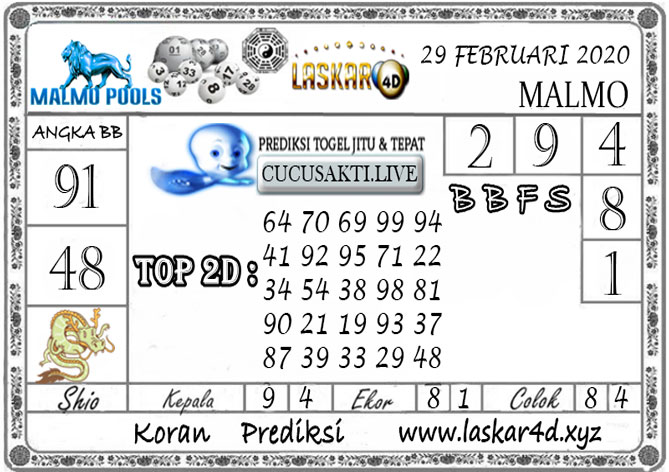 Prediksi Togel MALMO LASKAR4D 29 FEBRUARI 2020