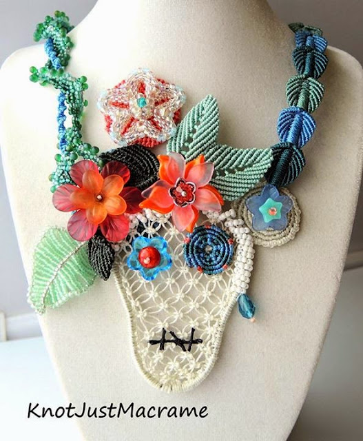 Beadwork and macrame collaboration.