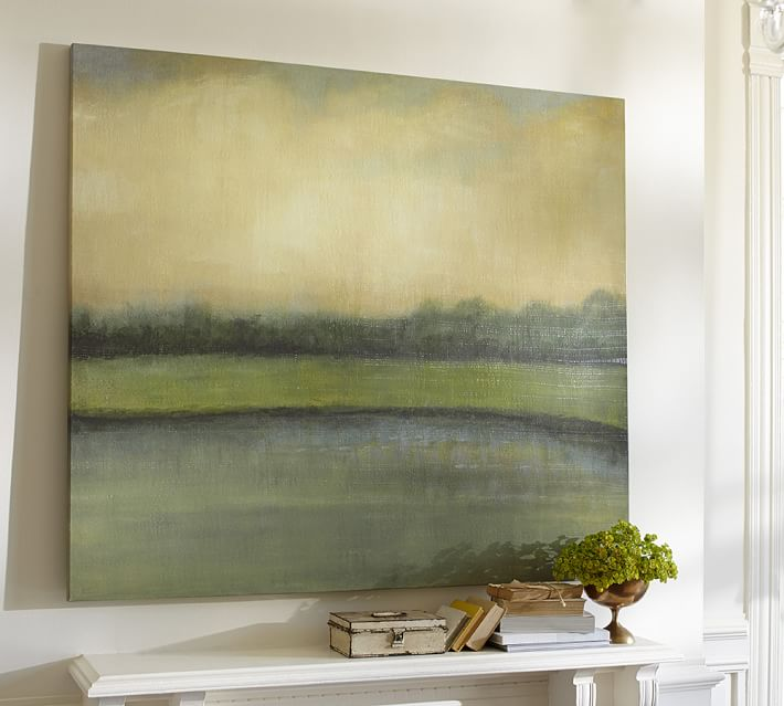 large green painting over fireplace