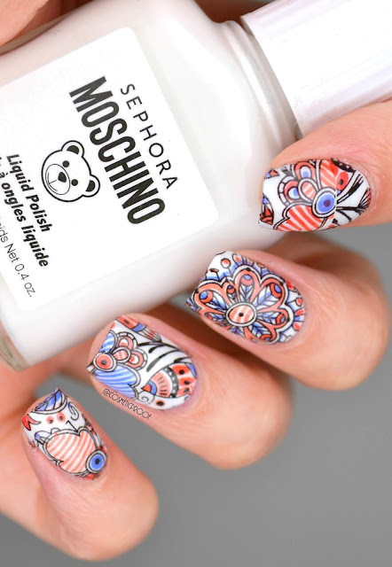 Red White and Blue Flower Nail Art