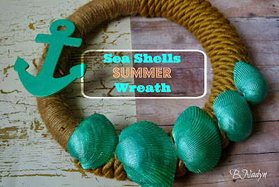 Beach Decor, Sea Shells, Wreath