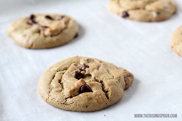 Flourless Peanut Butter Cookies with Dark Chocolate Chips {Gluten-Free & Dairy-Free}
