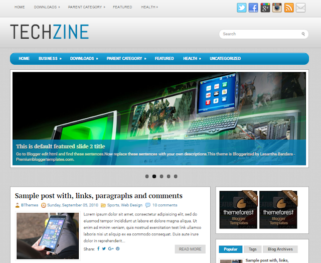 TechZine Responsive Blogger Template Free Download