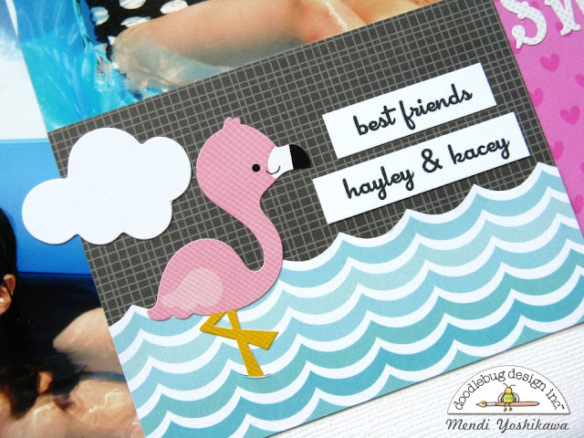 Doodlebug Design 2-page Summer Scrapbook Layout by Mendi Yoshikawa using PageMaps Sketch
