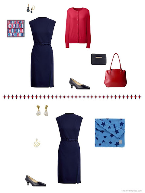2 ways to style a navy dress in a business capsule wardrobe