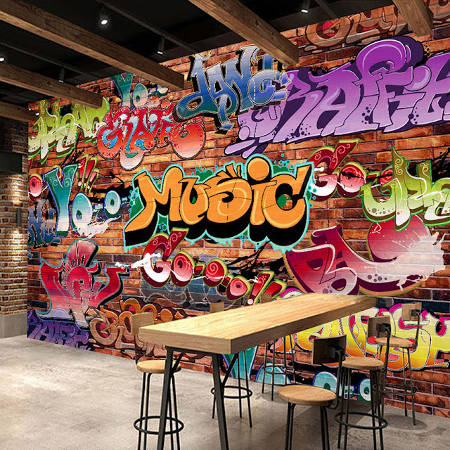 Graffiti Wall Murals Music Brick Wall Youth Room