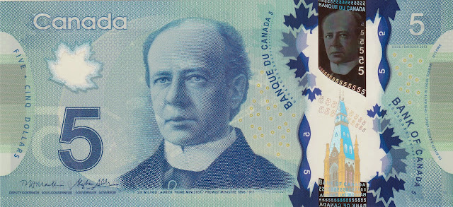 Canada Banknotes 5 Canadian Dollar Polymer Note 2013 Sir Wilfrid Laurier, Prime Minister of Canada