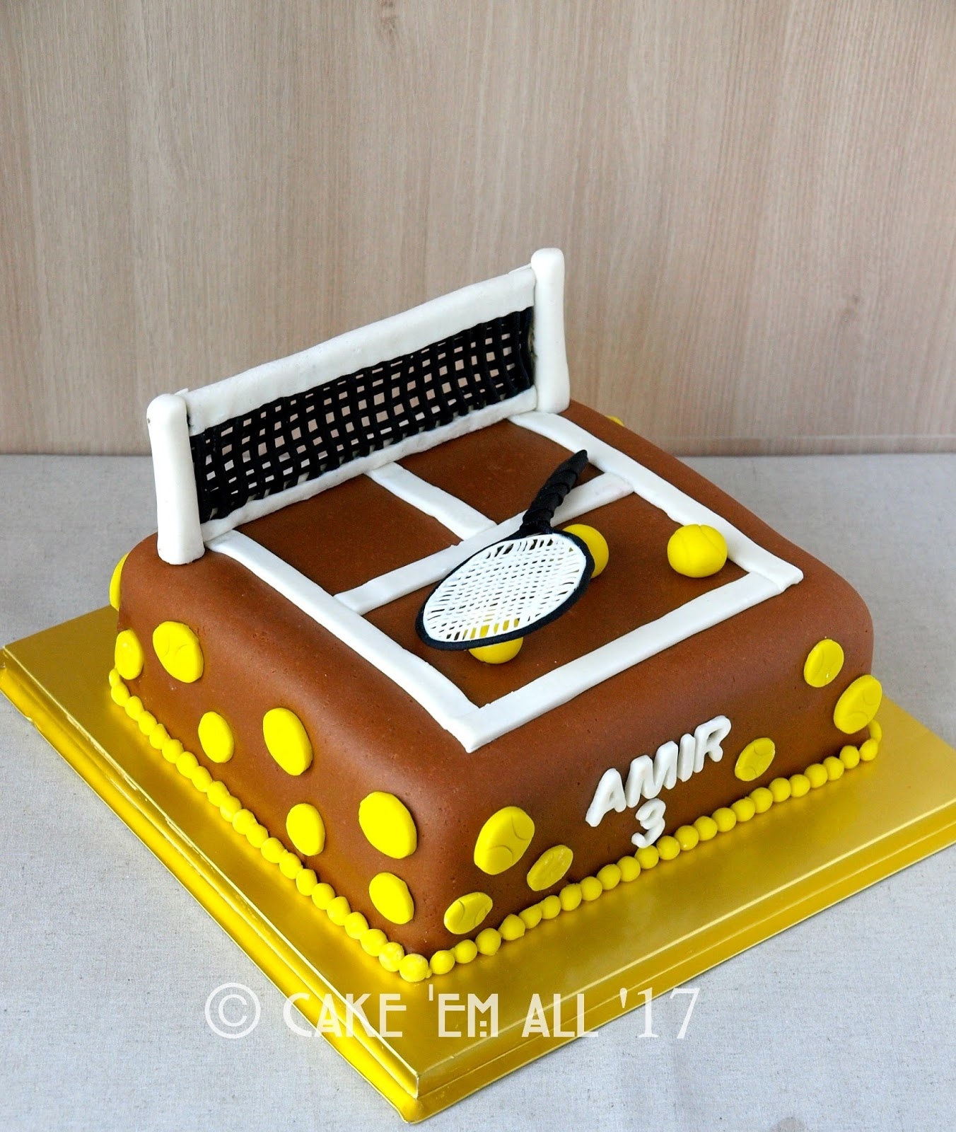 Clay Court Tennis Cake With 3d Tennis Racket Topper