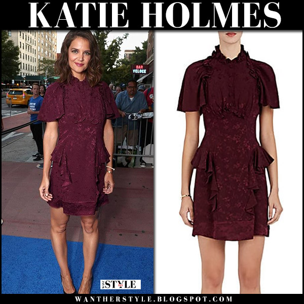 Katie Holmes in burgundy ruffle mini dress maison mayle red carpet august 16 2017