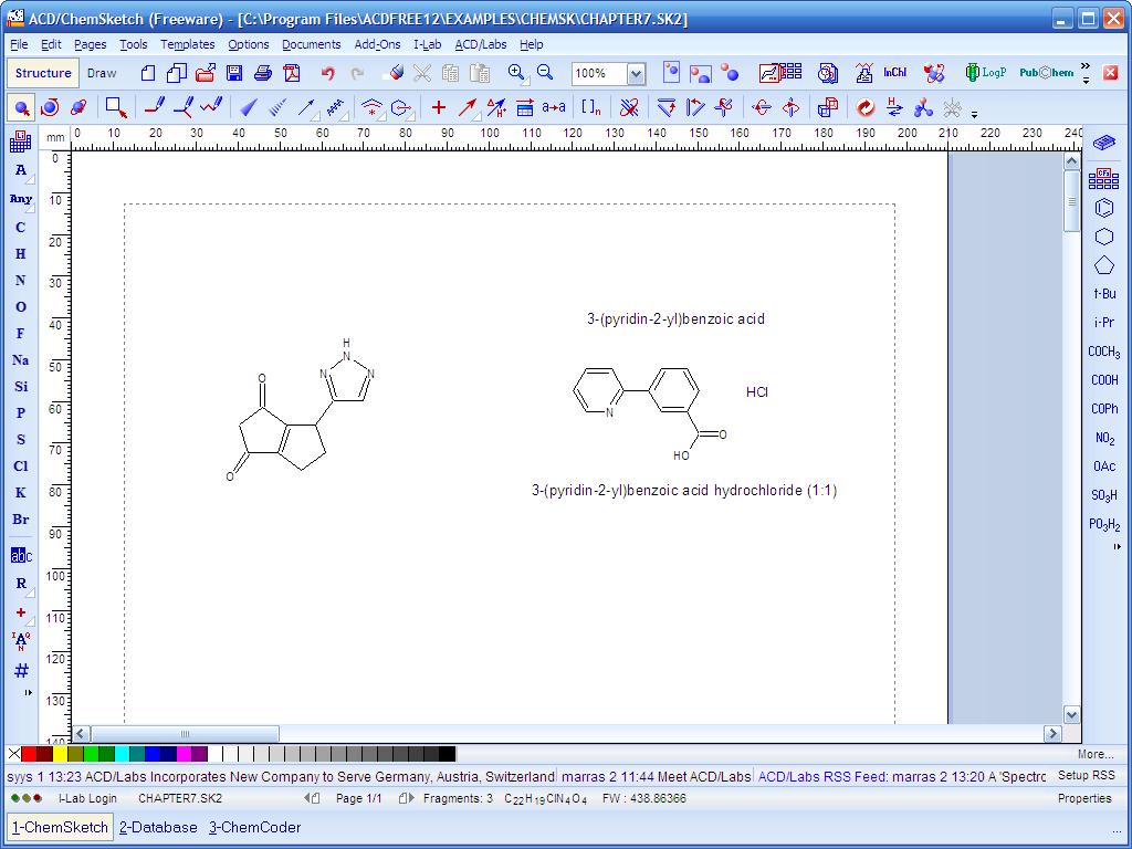 برنامج مجاني للكيميائين والباحثين لرسم المعادلات والرسومات والاشكال الكيميائية ACD/ChemSketch Freeware