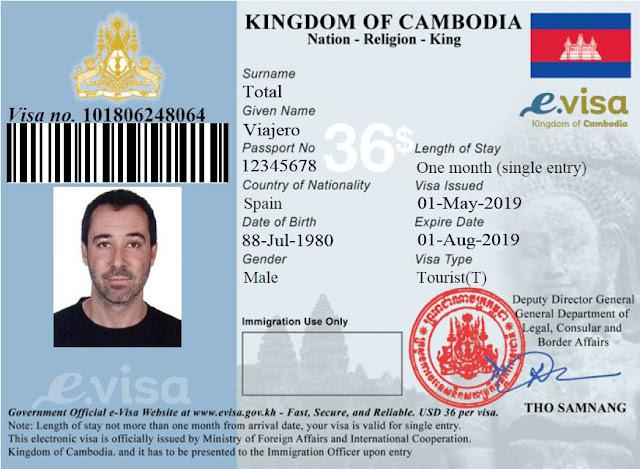 eVisa Camboya