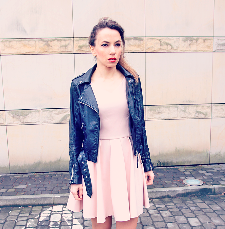 dress and biker jacket
