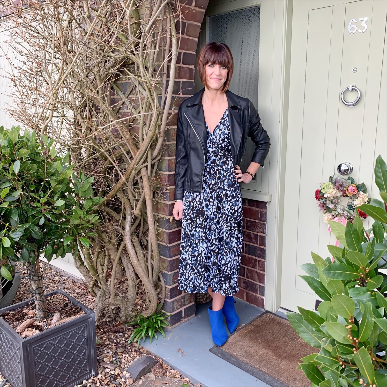 my midlife fashion, jd williams, jd williams black faux leather biker jacket, jd williams blue/black leopard print wrap dress, jd williams flexi sole kitten heel ankle boots