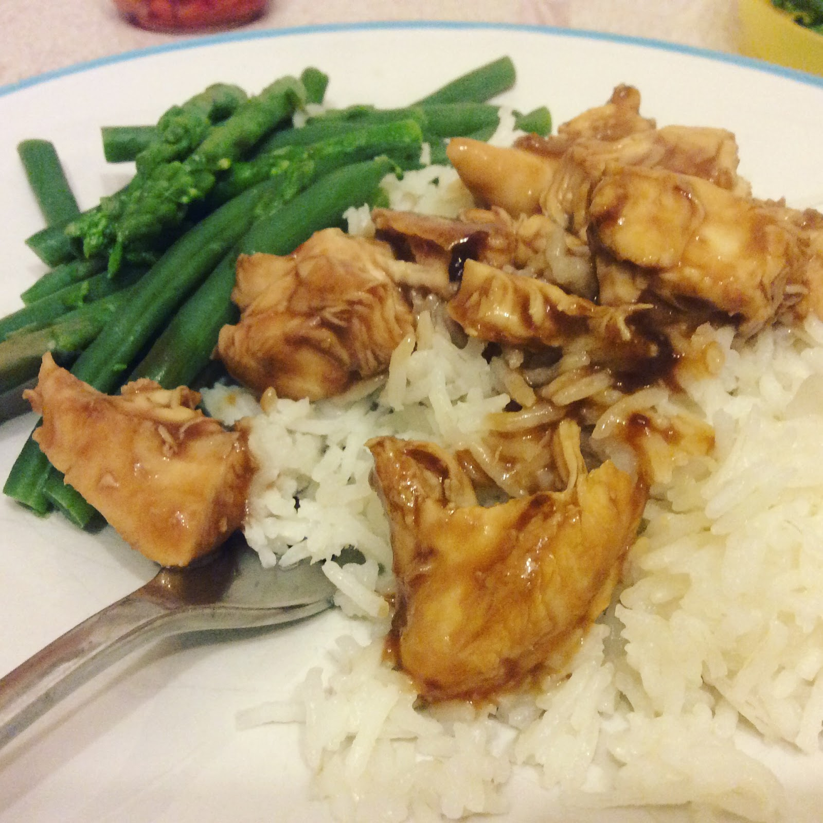 teriyaki chicken quick meal suggestion with rice and asparagas