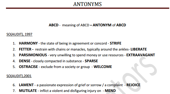 Download all Antonyms asked in SSC from 1997 till date in pdf free