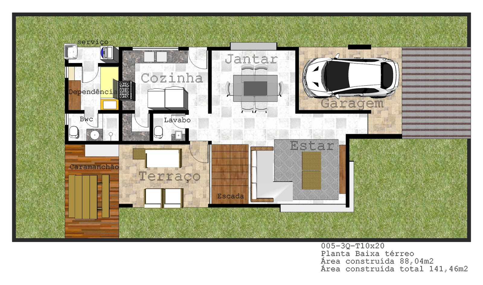 3 quartos duplex com terra o gourmet 10 x 24 90 clique for Modelo de casa 7 x 10