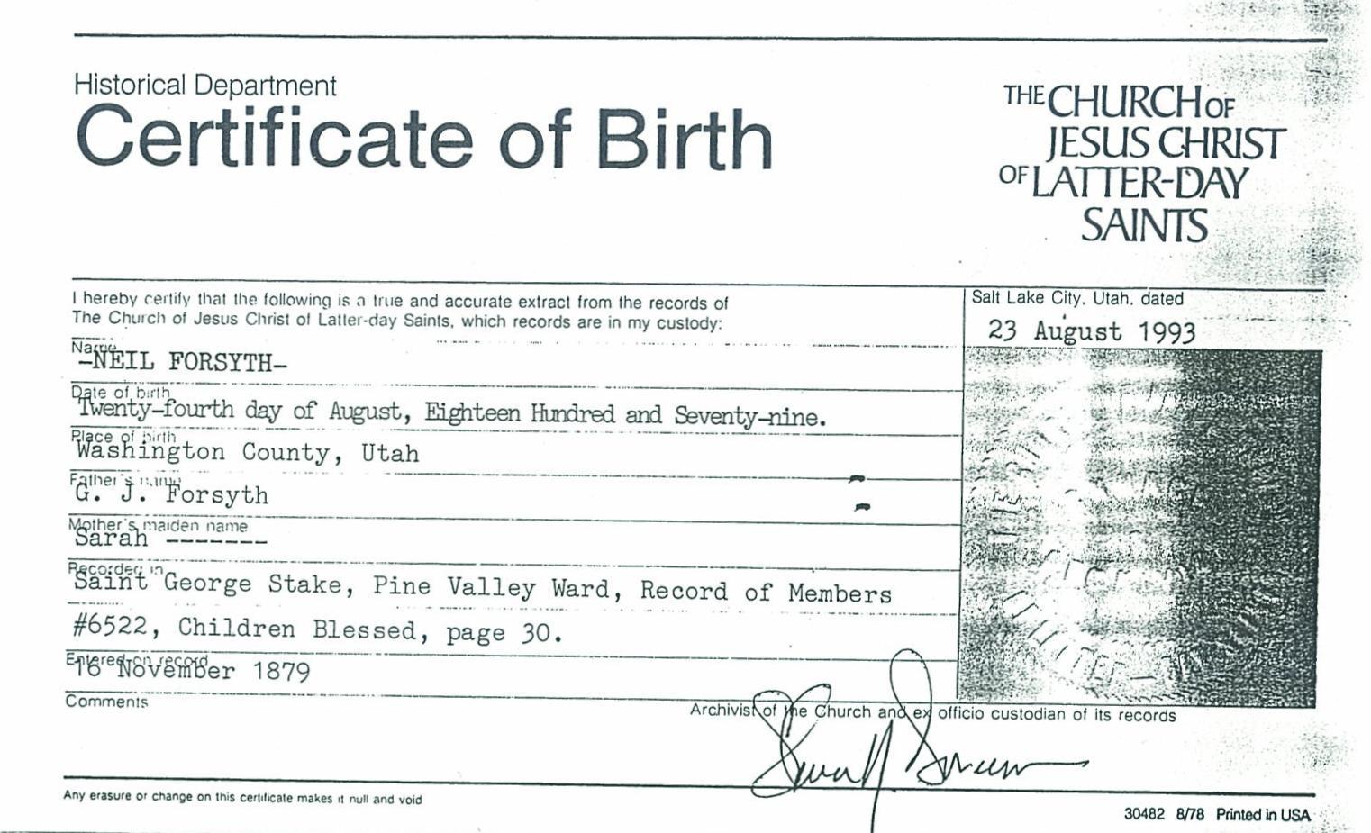 birth certificate utah washington pine