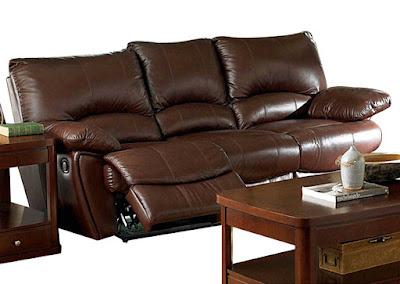 Dark brown reclining sofa in living room
