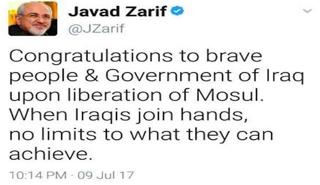 وزير الخارجية الايراني جواد ظريف يهنئ العراق بتحرير الموصل