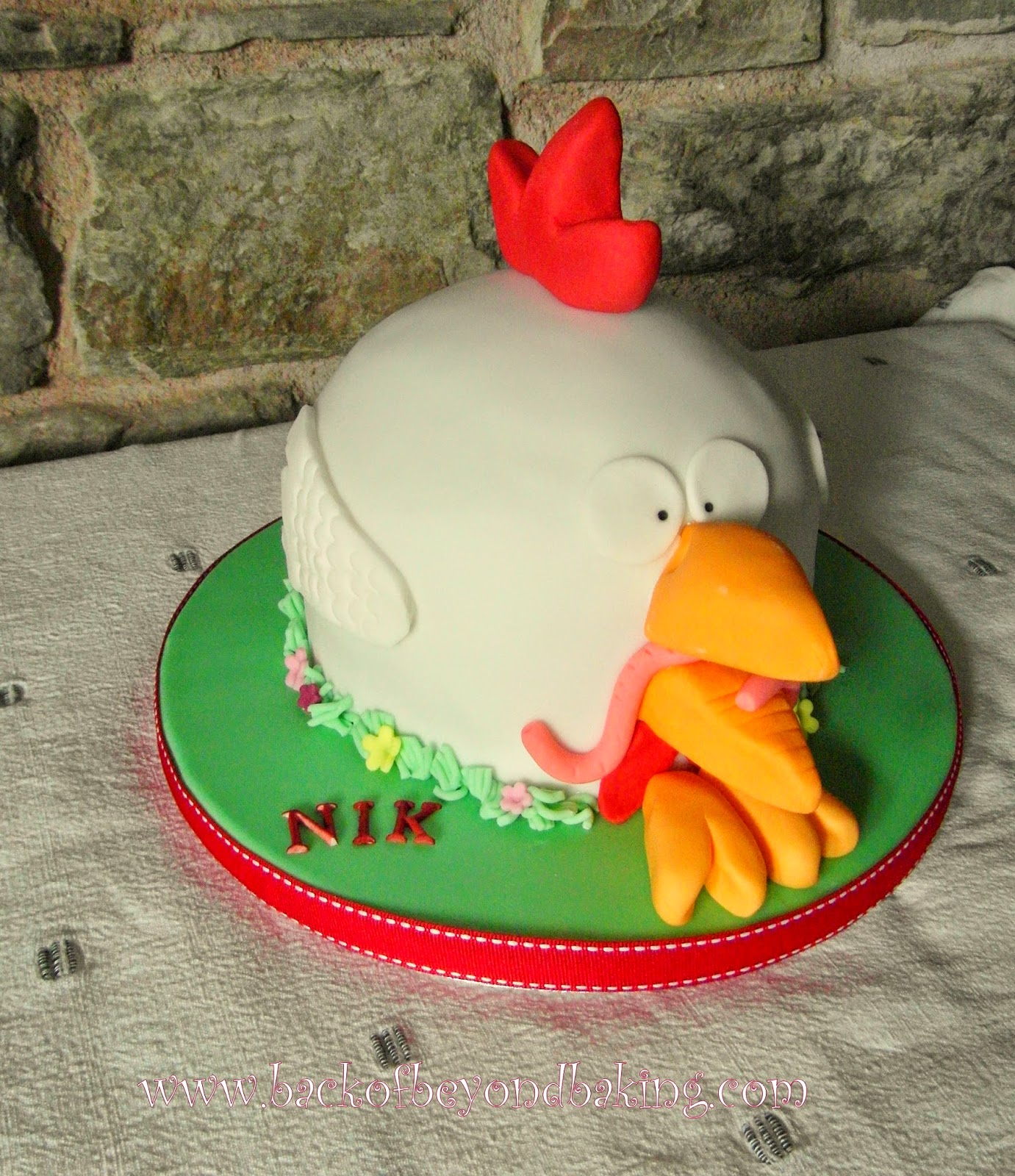 Chicken themed birthday cake