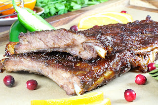 STICKY CRANBERRY ORANGE GLAZED PORK RIBS