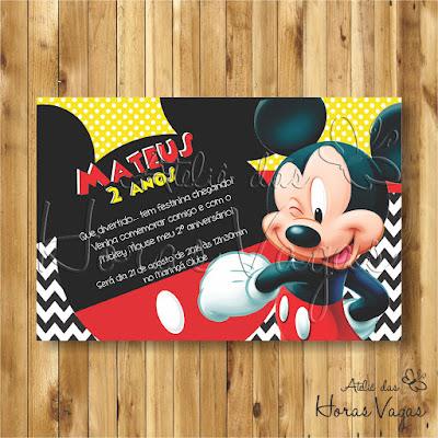 convite digital aniversário infantil personalizado artesanal festa 1 aninho chá de bebê fraldas mickey mouse vermelho amarelo preto menino criança
