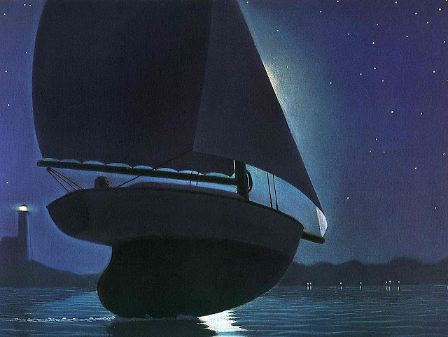 a Chris Van Allsburg illustration of a sailboat at night in a dream