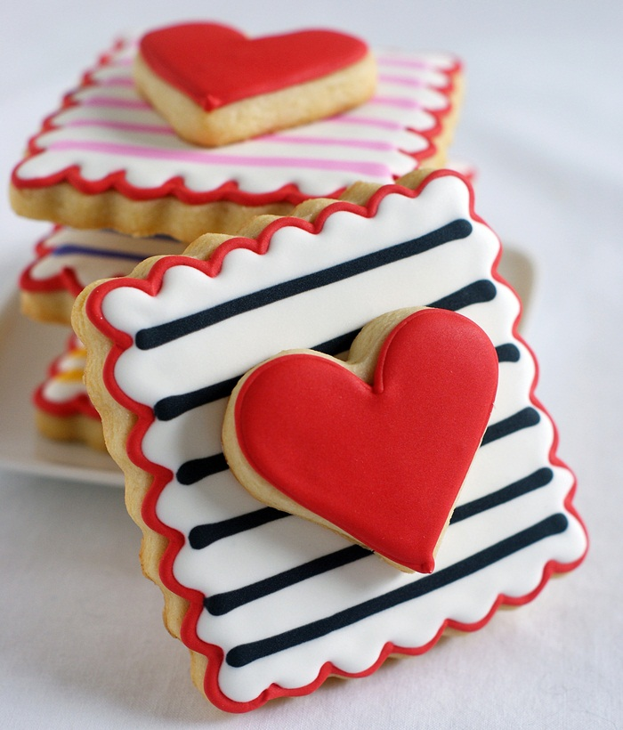 Double-Decker Stripey Hearts decorated cookies | bakeat350.net